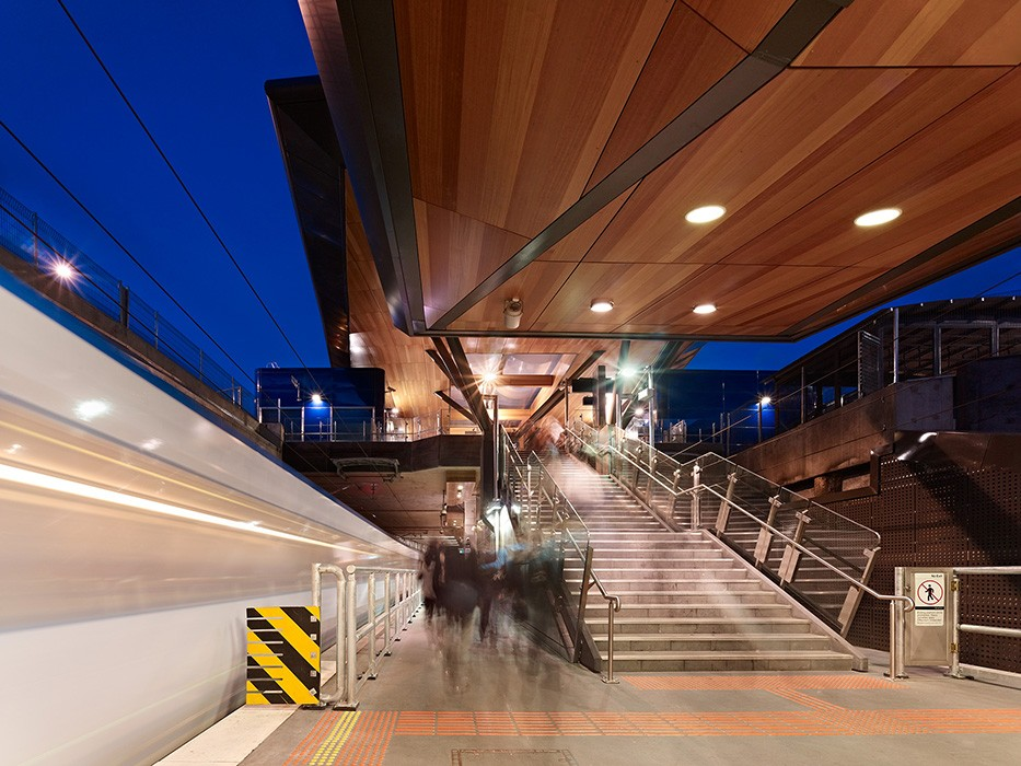 Part of Springvale Road grade separation project, includes elevated concourse, pedestrian connections and platform architectural elements