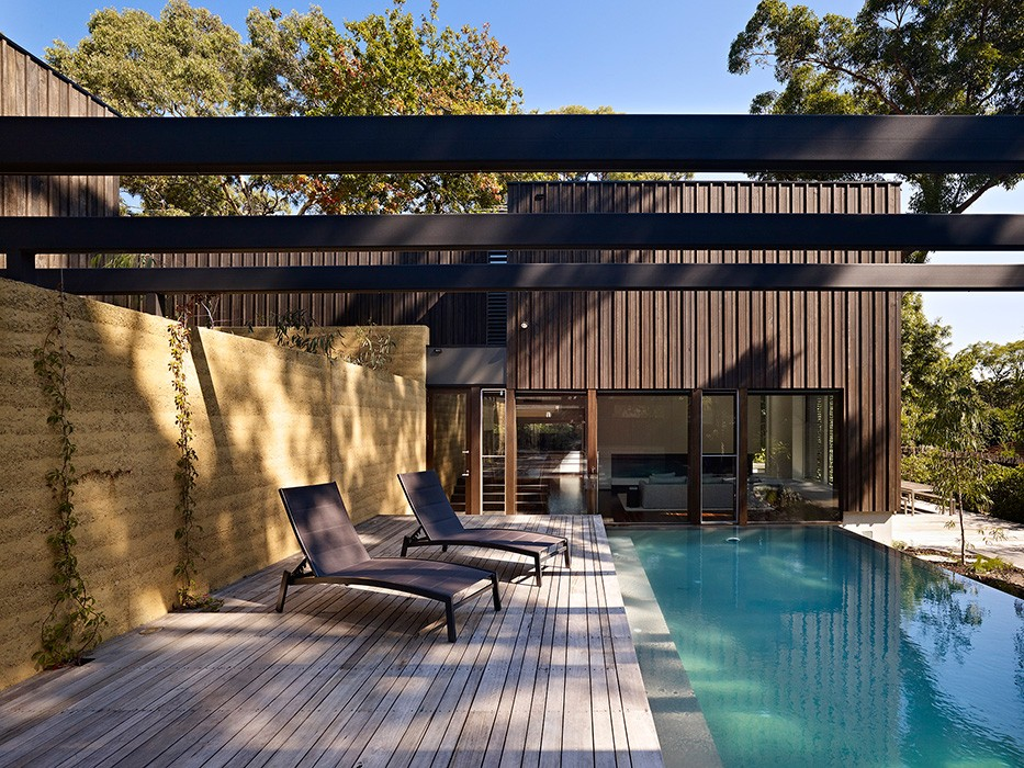 timber house, home with pool