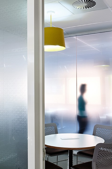 office space with yellow features