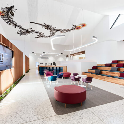 Nunawading Community Hub tiered seating, timber batons and artwork hanging from ceiling - structure photographer example / concept