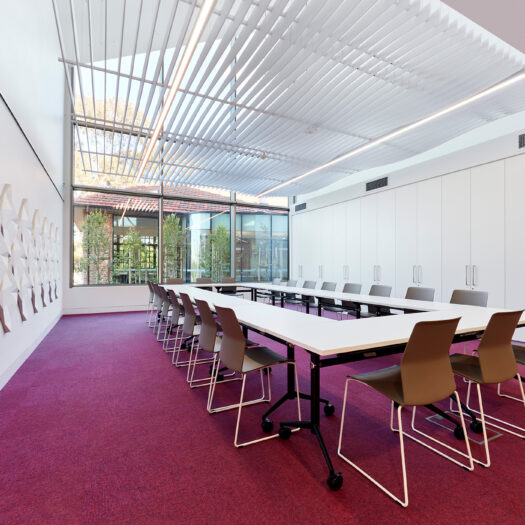 Nunawading Community Hub large meeting room with magenta carpet, patterned acoustic material on wall and view to external courtyard - structure photographer example / concept