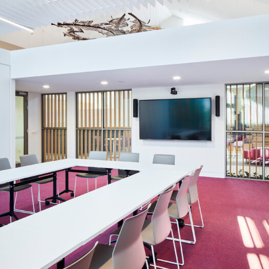 Nunawading Community Hub detail view of meeting room with magenta carpet and view back towards reception with suspended artwork - structure photographer example / concept