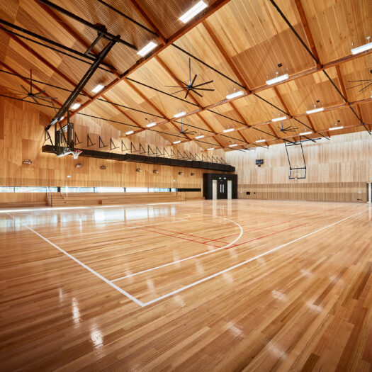 Nunawading Community Hub basketball court with timber throughout - structure photographer example / concept