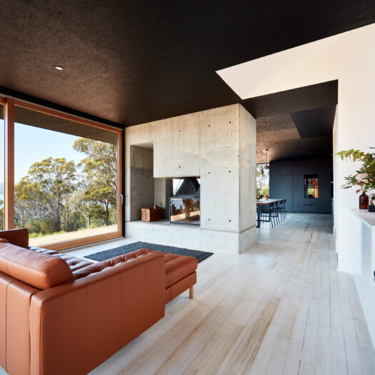 living room through to kitchen and staircase opening - building photographer example / concept