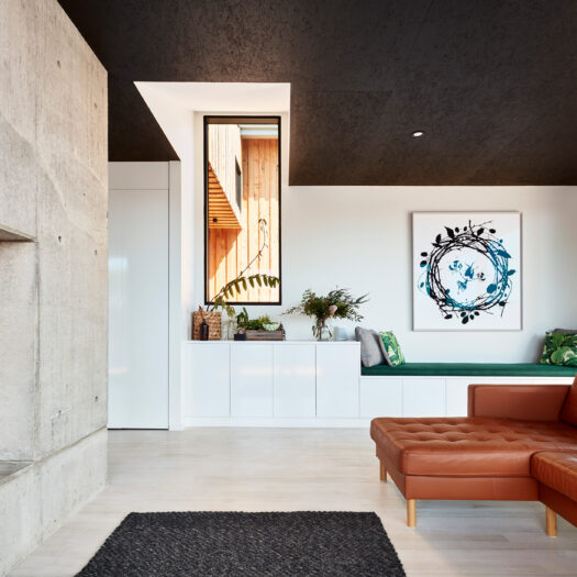 living room with leather couch and fireplace - building photographer example / concept