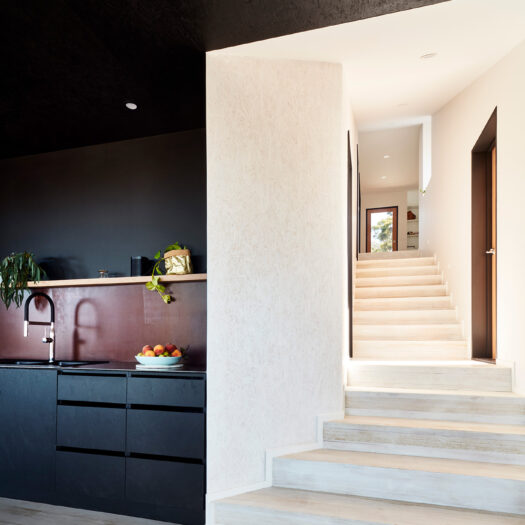 black kitchen cabinets and view to white staircase - building photographer example / concept