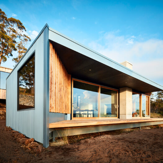 Tamar House with large sliding glass doors onto deck - building photographer example / concept