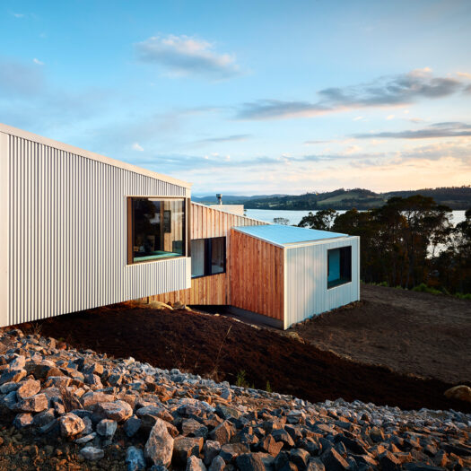 timber and colorbond Tamar House at dawn - building photographer example / concept