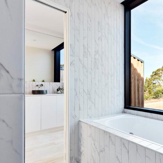 bathroom with window view in Tamar House, Tasmania