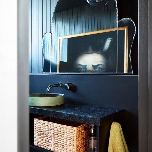 powder room with decorative mirror and reflected artwork showing eyes - building photographer example / concept