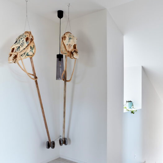 Tamar House - sculpture with horse skulls in hallway - building photographer example / concept