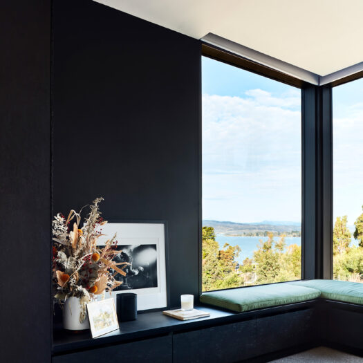 window seat with view to Tamar River, Tasmania - building photographer example / concept