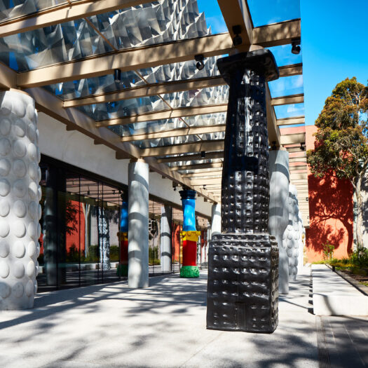 Monash University Chancellery artist walk, shadow play and Blackwood Hall in background - University example / concept