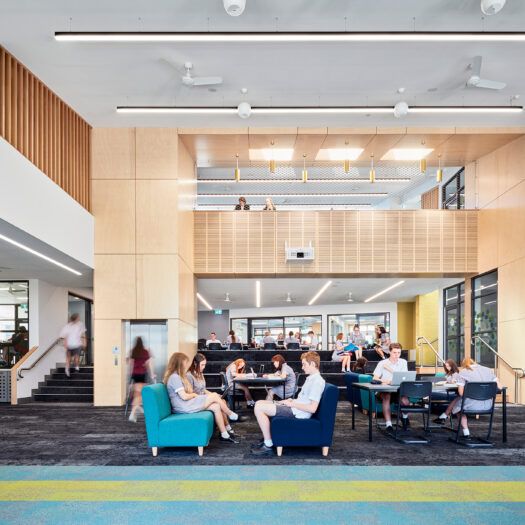 Ringwood Secondary College triple height open plan learning space with students - High School photography example / concept