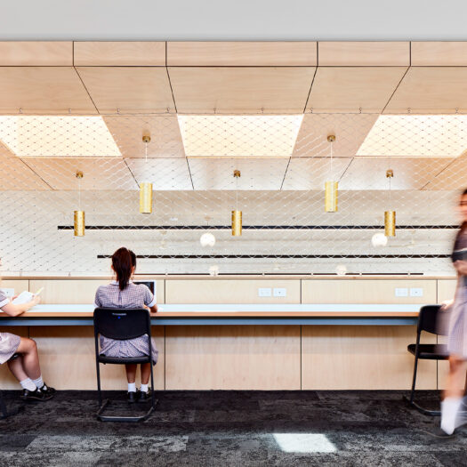 Ringwood Secondary College long bench with 2 girls studying and one standing, black strip lights and gold pendants - High School photography example / concept