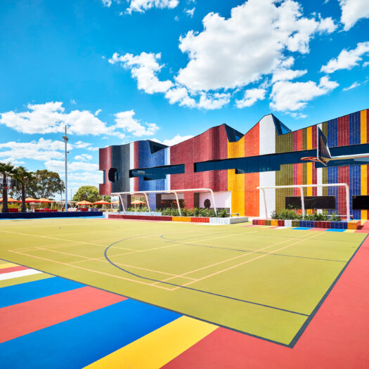 Springvale Library and Community Hubmulti coloured basketball court with tiled building - structure photographer example / concept