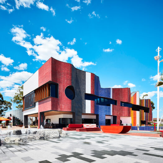 Springvale Library and Community Hub water play with tiled two storey building - structure photographer example / concept