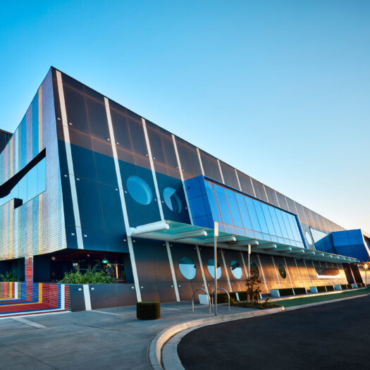 Springvale Library and Community Hub front entry in early dawn light - structure photographer example / concept