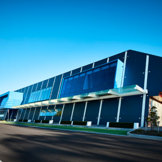 Springvale Library and Community Hub front entry with blue feature windows - structure photographer example / concept