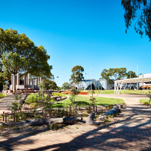 Springvale Library and Community Hub children's playground and outdoor community space - structure photographer example / concept