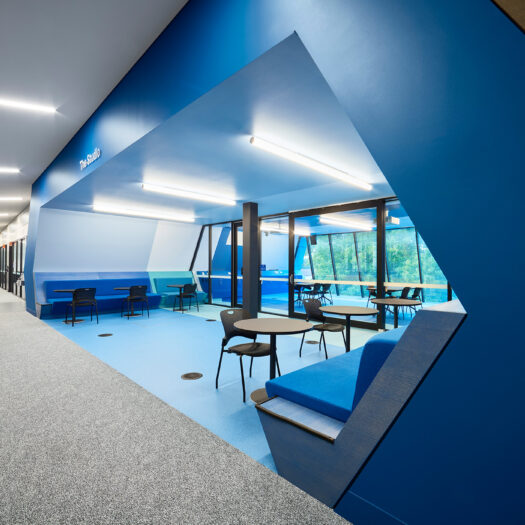 Springvale Library and Community Hub dramatic blue opening into breakout and meeting space - structure photographer example / concept